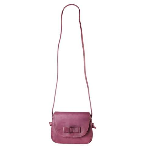 Diophy Bow-Knot Genuine Leather Zipper Closure Crossbody Handbag - XS