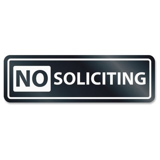 U.S. Stamp & Sign No Soliciting Window Sign - White