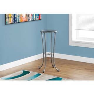 Hammered Silver Metal Tempered Glass Accent Table