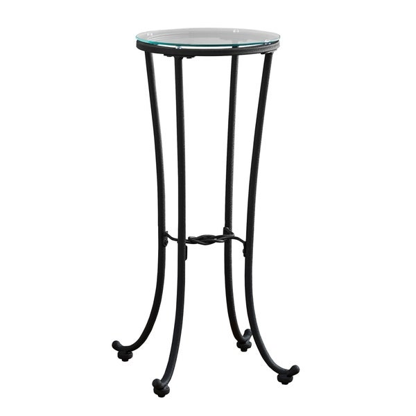 Shop Hammered Black Metal Tempered Glass Accent Table