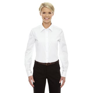 Crown Women's White Collection Solid Stretch Twill Dress Shirt