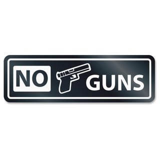 U.S. Stamp & Sign No Guns Window Sign - White