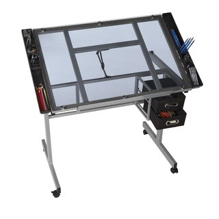 OneSpace 50-CS01 Silver Steel/Blue Tempered Glass Drafting Table