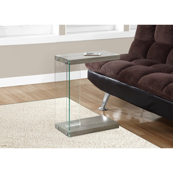 Dark Taupe Tempered Glass Accent Table Free Shipping