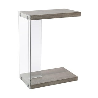 Dark Taupe Tempered Glass Accent Table