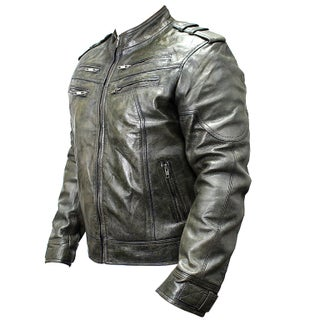 Men's Green Sheep Skin Leather Jacket (More options available)