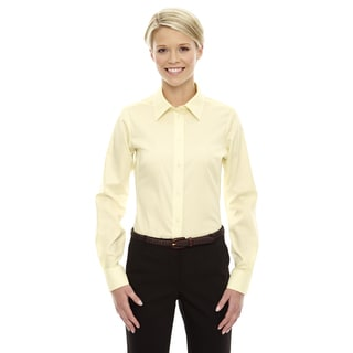 Crown Women's Collection Transparent Yellow Solid Stretch Twill Dress Shirt