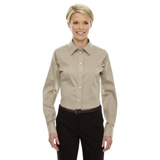 Crown Women's Stone Collection Solid Stretch Twill Dress Shirt