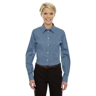Crown Women's Slate Blue Collection Solid Stretch Twill Dress Shirt