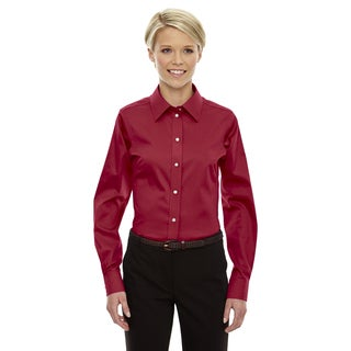 Crown Women's Red Collection Solid Stretch Twill Dress Shirt