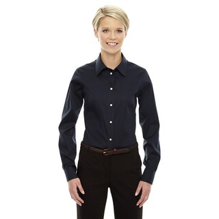 Crown Women's Navy Collection Solid Stretch Twill Dress Shirt
