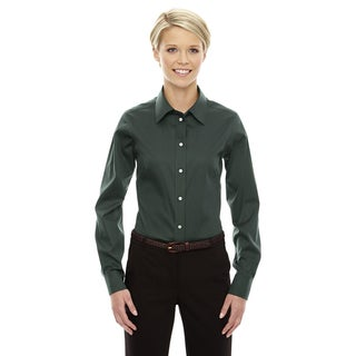 Crown Women's Collection Forest Solid Stretch Twill Dress Shirt