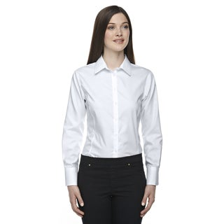 Boulevard Wrinkle-Free Women's Two-Ply 80's Cotton Dobby Taped Silver 674 Dress Shirt With Oxford Twill
