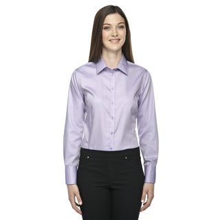 Boulevard Wrinkle-Free Women's Two-Ply 80's Cotton Dobby Taped Orchid Purple 459 Dress Shirt With Oxford Twill