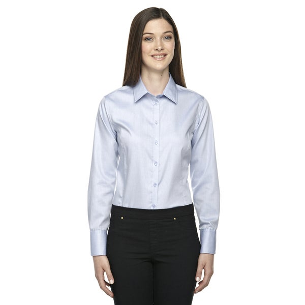 Boulevard wrinkle free women 39 s two ply 80 39 s cotton dobby for Best wrinkle free shirts