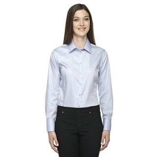Boulevard Wrinkle-Free Women's Two-Ply 80's Cotton Dobby Taped Cool Blue 808 Dress Shirt With Oxford Twill