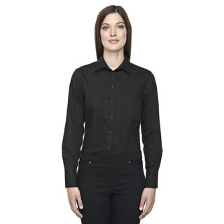 Boulevard Wrinkle-Free Women's Two-Ply 80's Cotton Dobby Taped Black 703 Dress Shirt With Oxford Twill