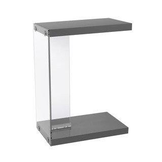 Glossy Grey Tempered Glass Accent Table