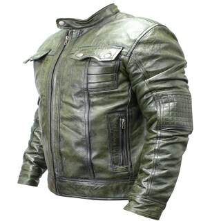 Men's Green Sheep Skin Leather Fashion Jacket (More options available)