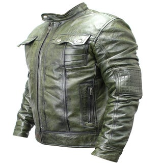 Men's Green Sheep Skin Leather Fashion Jacket