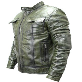 Men's Green Sheep Skin Leather Fashion Jacket