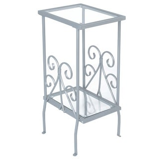 Silver Metal Tempered Glass Accent Table