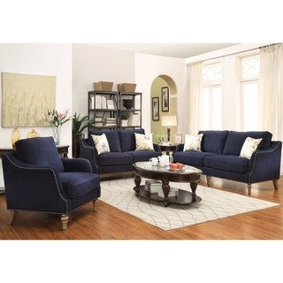 Deep Ink Blue Chenille Fabric upholstery with Nailhead Trim Living Room Collection