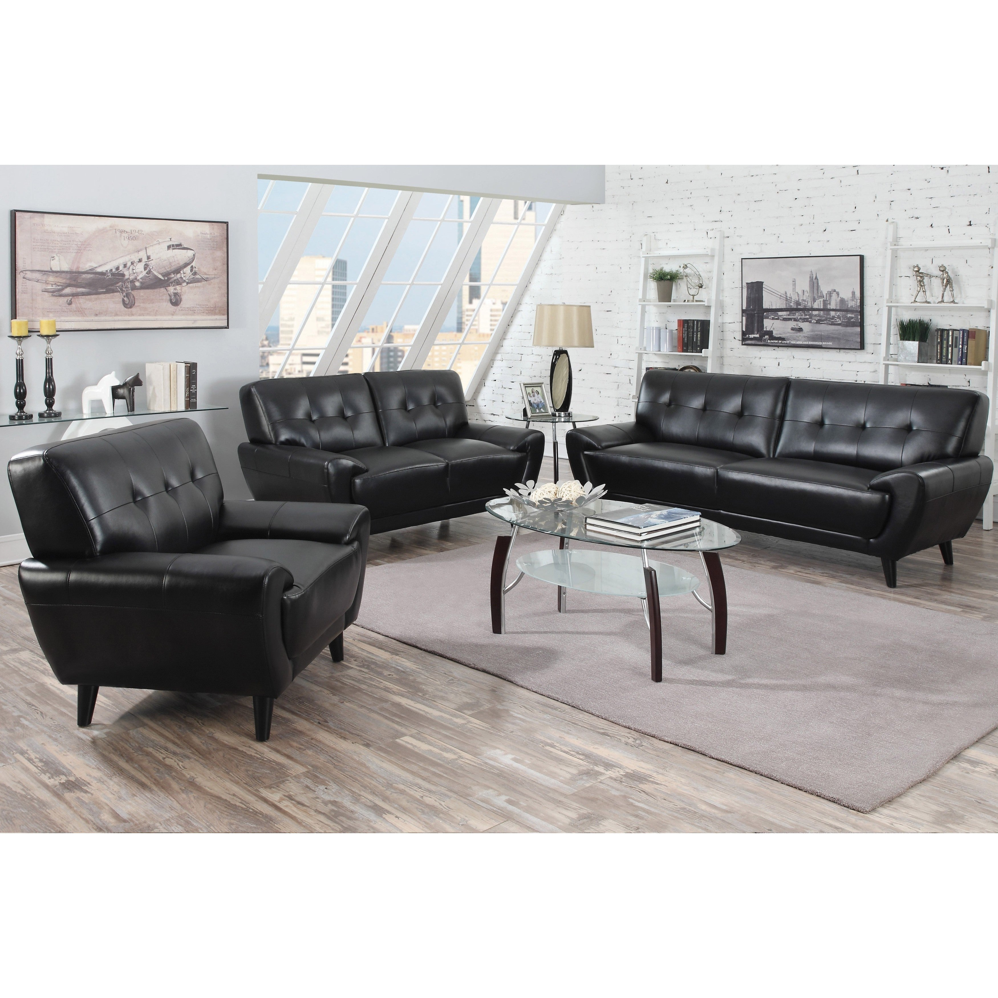 Hughes Mid-century Tufted Design Living Room Collection (...