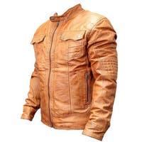 2XL Perrini Men's Genuine Brown Sheep Skin Leather Fashion Jacket