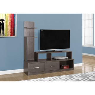 Grey Wood-Grain Look TV Stand and Display Tower