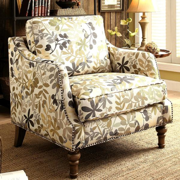 Shop Leaf Design Living Room Upholstered Accent Chair With Nailhead Trim Free Shipping Today