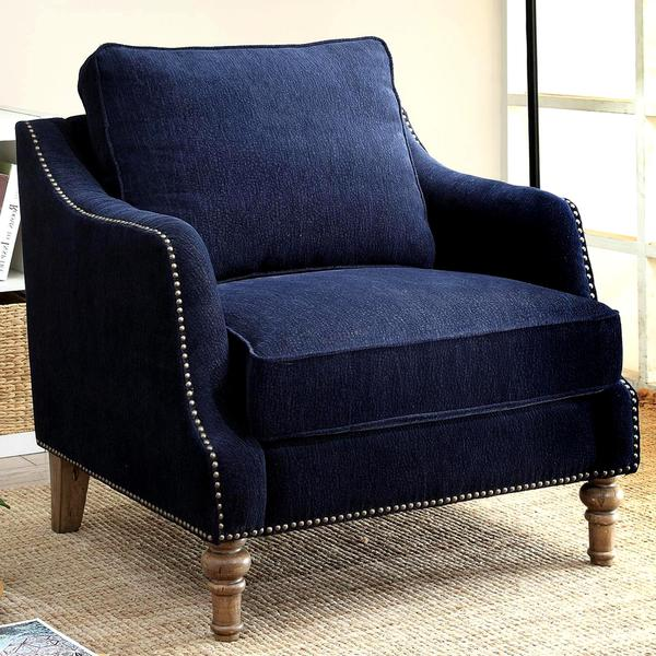 blue accent chairs for living room shop ink blue chenille fabric upholstered living room 24036