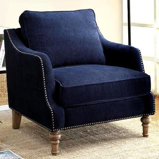 Deep Ink Blue Chenille Fabric Upholstered Living Room Accent Chair with Nailhead Trim