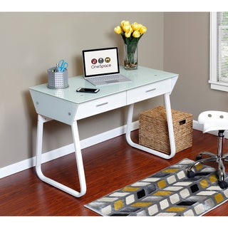 OneSpace 50-JN1301 White Ultramodern Glass Computer Desk