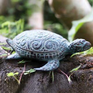 Handcrafted Bronze 'Green Turtle' Sculpture (Indonesia)