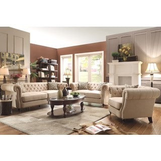 Mid-Century Posh Living Room Collection with Tufted Design and Nailhead Trim