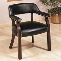 Traditional Classic Black Office Guest Reception Chair with Nailhead Trim