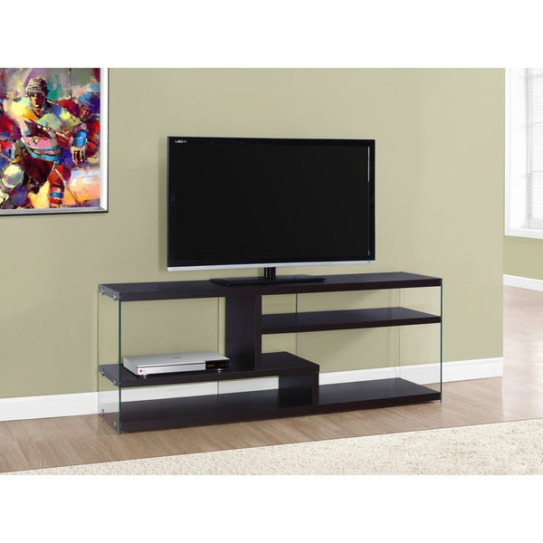 Shop Cappuccino Tempered Glass 60 Inch Tv Stand Free Shipping