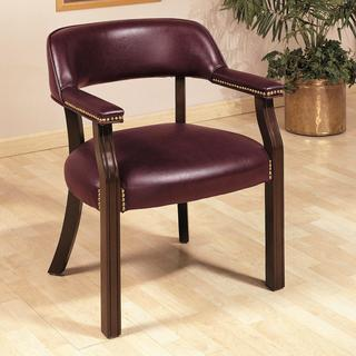 Traditional Classic Burgundy Office Guest Reception Chair with Nailhead Trim