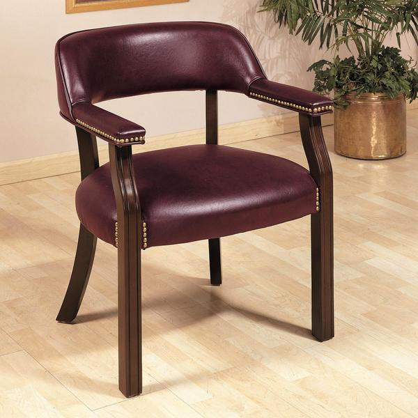 Traditional Classic Burgundy Office Guest Reception Chair
