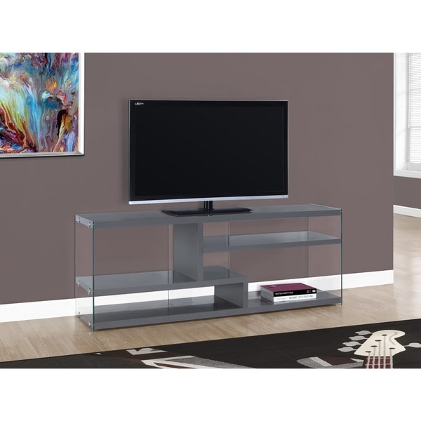 Shop Glossy Grey Tempered Glass 60 Inch Tv Stand Free Shipping