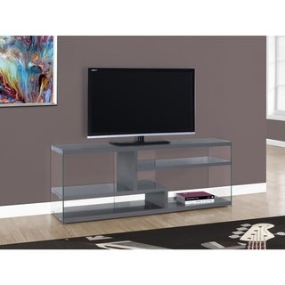 Glossy Grey Tempered Glass 60-inch TV Stand