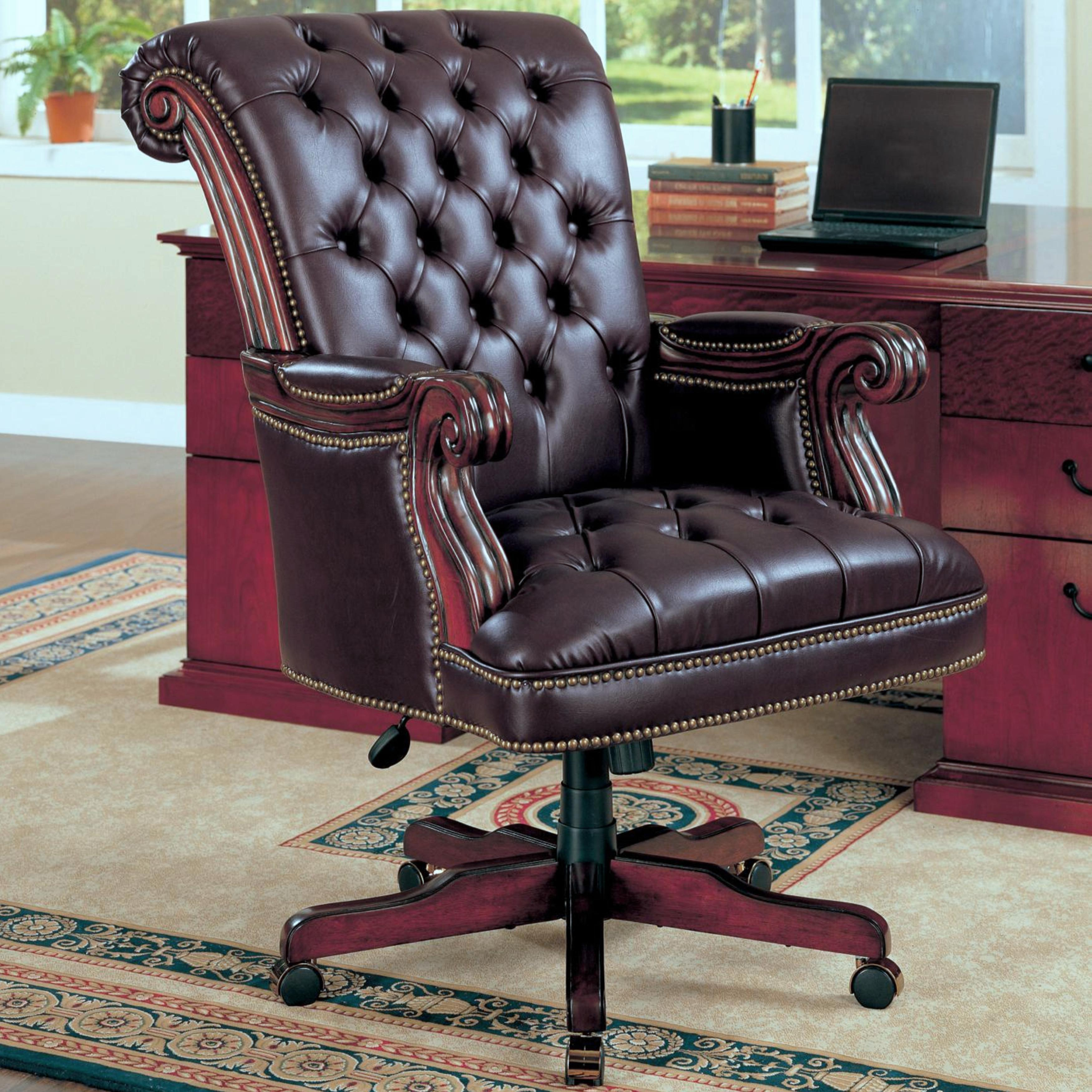 Plush Rolled Back Design Traditional Button Tufted Executive Office Chair With Nailhead Trim On Sale Overstock 12298351 Brown