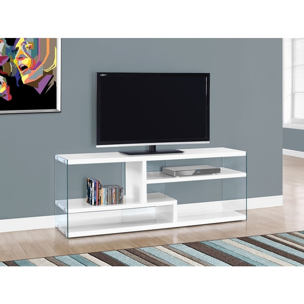 Glossy White Contemporary Clear Temper Glass Sleek Modern: Glossy White Tempered Glass 60-inch TV Stand