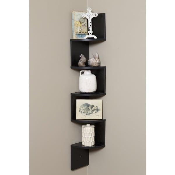 Comfort Products OneSpace Black Walnut Wood 5-tier Large Corner Wall-mount Shelf