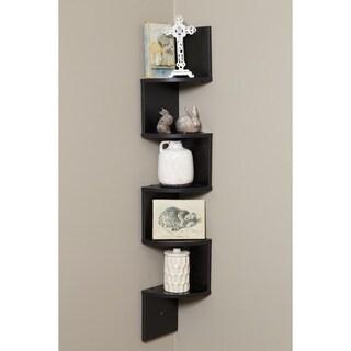 Comfort Products OneSpace Black Walnut Wood 5-tier Large Corner Wall-mount Shelf
