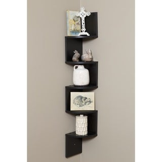 Comfort Products OneSpace Black Walnut Wood 5 Tier Large Corner Wall Mount  Shelf