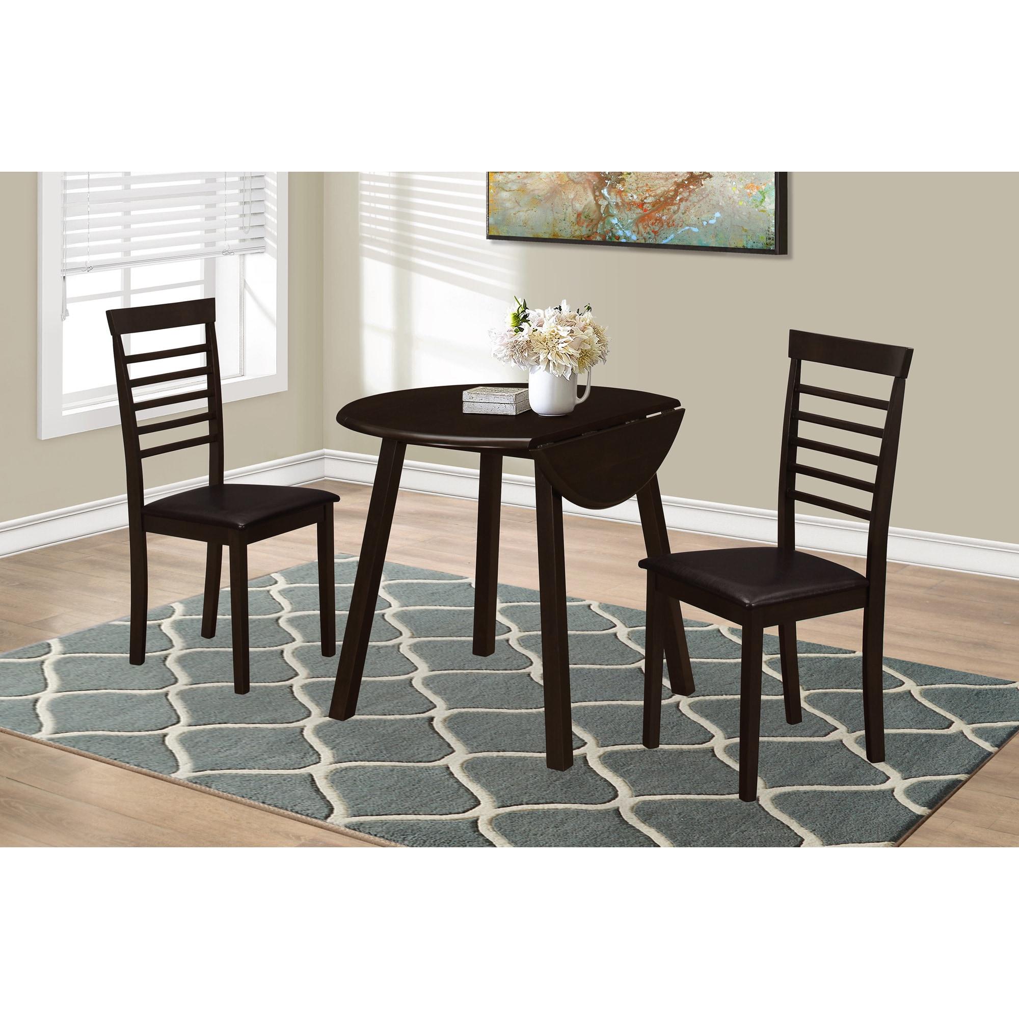 Monarch Cappuccino Drop Leaf 3-Piece Dining Room Set (Din...