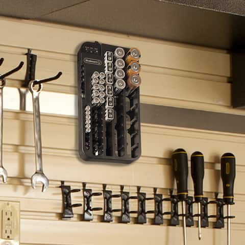 Battery Organizer with Removeable Volt Tester - 70 Piece Capacity Wall Mounted or Drawer Storage Case by Stalwart