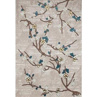 Persian Rugs Flower Stem Floral Area Rug (9'0 x 12'6)
